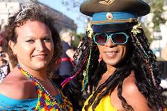 Drag Queens at San Francsico Pride. A close portrait shot of two drag queens in flamboyant outfits posing together after a parade at the Gay Pride celebration in Stock Photography