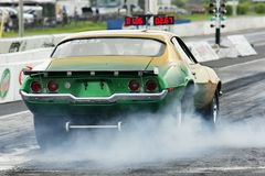 Drag race. Picture of the vintage camaro at the drag race stock images