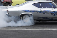 Drag race burn-out Stock Image