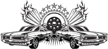 Drag Race Illustration. Illustration of two muscle cars drag racing Royalty Free Stock Photography