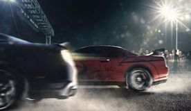 Drag racing cars on the night track 3d render. Drag racing cars on the night track in lights Royalty Free Stock Photo