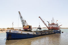 Dragaggio di Ayamonte, porto La Spagna Andalusia Immagine Stock Libera da Diritti