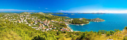 Drage Pakostanske panoramic aerial view Royalty Free Stock Images