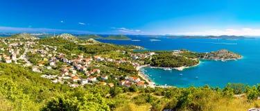 Drage Pakostanske panoramic aerial view. With Kornati islands national park, Dalmatia, Croatia Royalty Free Stock Photo