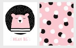 Dragen abstrakt hand sova uppsättningen för björnvektorillustration royaltyfri illustrationer