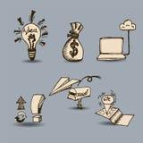 Dragen affärsuppsättninghand vektor illustrationer