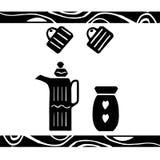 Dragen affisch för vektor hand i stilen av `-Hygge ` med en bild av köksgeråd med blommor med skandinaviska folk modeller Vektor Illustrationer