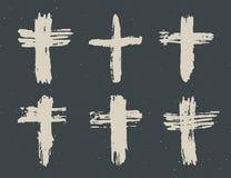 Dragen arg symboluppsättning för Grunge hand Kristna kors, klosterbroder undertecknar symboler, illustration för korssymbolvektor royaltyfri illustrationer