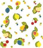 Dragen bakgrund för fruktklotter hand Arkivfoton