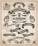 Dragen baneruppsättning för tappning retro hand stock illustrationer