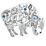 Dragen bisonhand klotter Objekt som isoleras på vit Arkivfoton