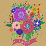 Dragen blom- modell för vektor hand i klotterstil med blommor stock illustrationer