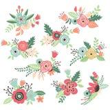 Dragen blommauppsättning för tappning hand stock illustrationer