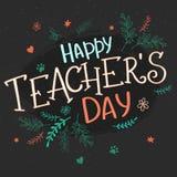 Dragen bokstäver för vektor hand med filialer, virvlar, blommor och citationstecknet - lycklig läraredag royaltyfri illustrationer