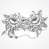 Dragen bukett för tappning blom- högt detaljerad hand av blommor och bandbanret i svartvitt Viktorianskt motiv, tatueringdesign Royaltyfria Foton