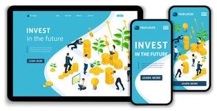 Dragen de Isometrische het concepteninvesteringen van het websitelandingspagina in de toekomst, investeerders geld aan de investe stock illustratie
