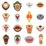 Dragen de vector open kaak van de dierenmond met tanden of de hoektanden van brullende dieren boze leeuw of kat en het lachen met royalty-vrije illustratie