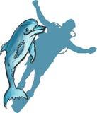 Dragen delfinuppsättninghand arkivfoto