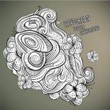 Dragen design för vektor blom- abstrakt hand Royaltyfri Foto