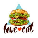 Dragen färgillustration för hamburgare hand med slogan Arkivfoton