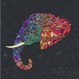 Dragen färgrik stam- utsmyckad dekorerad elefantillustration för vektor hand Fotografering för Bildbyråer