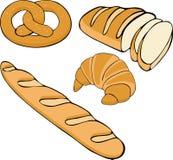 Dragen fastställd illustration för brödraster hand Samling för glutenmatbageri Royaltyfri Bild