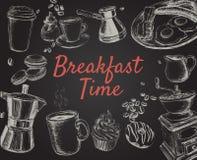 Dragen fastställd vektorillustration för frukost hand arkivbilder