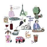 Dragen Frankrike för vektor hand uppsättning paris semester Arkivbild