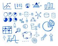 Dragen hand för affärsfinansklotter skissat royaltyfri illustrationer