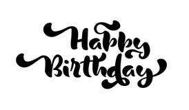 Dragen hand för lycklig födelsedag märka kalligrafitext För citationsteckenillustration för vektor rolig logo eller etikett för d vektor illustrationer