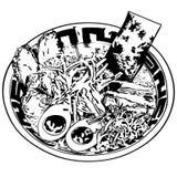 Dragen hand för Ramenvektoreps, vektor, Eps, logo, symbol, konturillustration vid crafteroks för olikt bruk vektor illustrationer