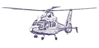 Dragen helikopterhand royaltyfri illustrationer