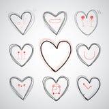 Dragen hjärta för vektor hand Arkivbild