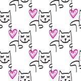 Dragen illustration för kattmodellvektor hand Arkivfoto