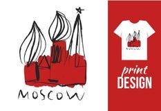 Dragen illustration för Kreml hand med text moscow Vektorillustr stock illustrationer