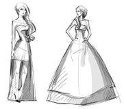 Dragen illustration för mode hand klänning long stock illustrationer