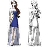 Dragen illustration för mode hand klänning long royaltyfri illustrationer