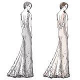Dragen illustration för mode hand klänning long vektor illustrationer