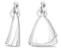 Dragen illustration för mode hand klänning long Brud stock illustrationer