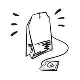 Dragen illustration för tepåsevektor hand Linje symbol Arkivfoto