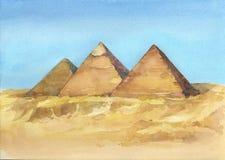 Dragen illustration för vattenfärg hand av egyptiska pyramider i Giza royaltyfri illustrationer