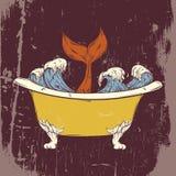Dragen illustration för vektor hand av badet med havvågor och saga av fisken Arkivfoto