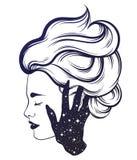 Dragen illustration för vektor hand av den härliga kvinnaprofilen med handen av en spöke vektor illustrationer
