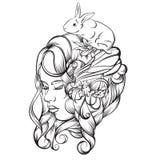 Dragen illustration för vektor hand av den unga damen Royaltyfri Bild