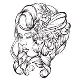 Dragen illustration för vektor hand av den unga damen Arkivbild