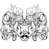 Dragen illustration för vektor hand av den unga damen med kaniner och slagträet Royaltyfri Fotografi