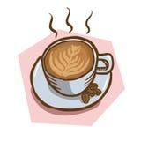 Dragen illustration för vektor hand av den varma koppen kaffe med bönor på rosa bakgrund Royaltyfri Fotografi