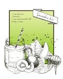 Dragen illustration för vektor hand av det gröna smoothiereceptet Med krus- och coctailröret Royaltyfri Foto