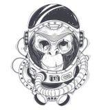 Dragen illustration för vektor hand av en apaastronaut, schimpans i en utrymmedräkt stock illustrationer