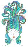 Dragen illustration för vektor hand av en härlig flicka Arkivbild